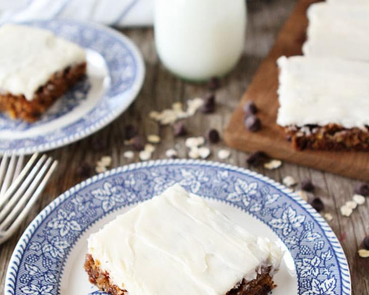 Oatmeal Chocolate Chip Cake with Cream Cheese Frosting