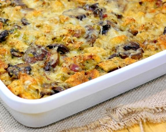 Mushroom and Leek Bread Pudding