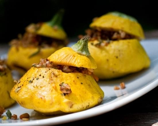 Pretty-in-the-Pan Stuffed Patty Pan Squash