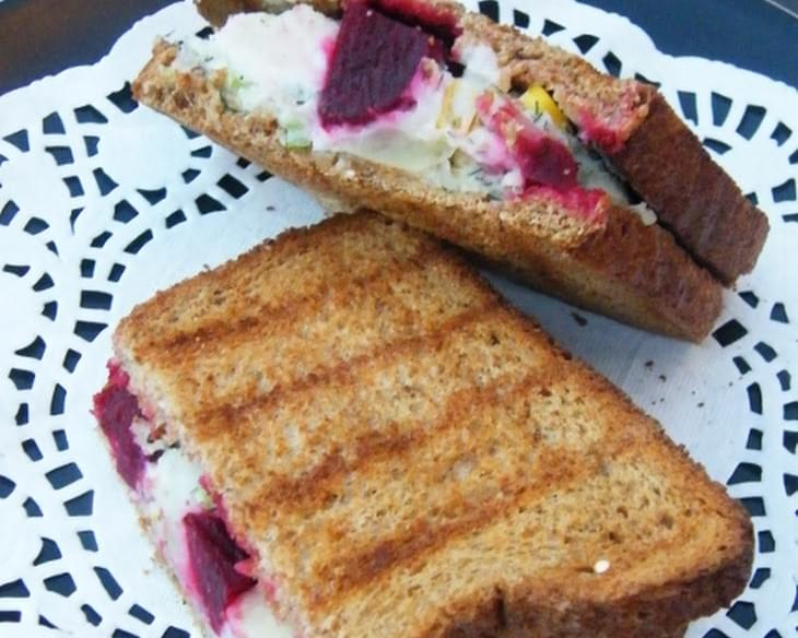 Toasted Potato and Beet Sandwich