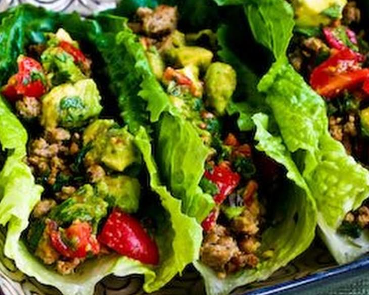 Turkey Lettuce Wrap Tacos with Chiles, Cumin, Cilantro, Lime and Tomato-Avocado Salsa