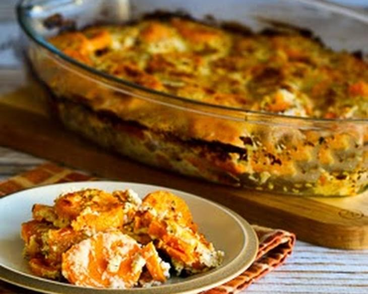 Sweet Potato Gratin with Goat Cheese, Parmesan, and Thyme