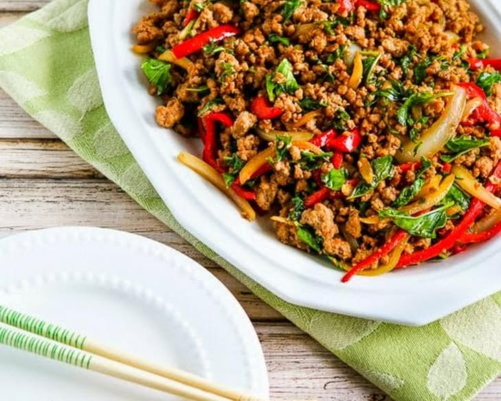 Thai-Inspired Ground Turkey Stir-Fry with Basil and Peppers (Low-Carb, Gluten-Free)