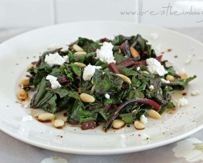 Wilted Beet Greens w/ Goat Cheese & Pine Nuts
