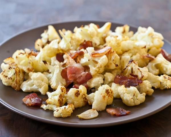 Roasted Cauliflower Recipe with Bacon and Garlic