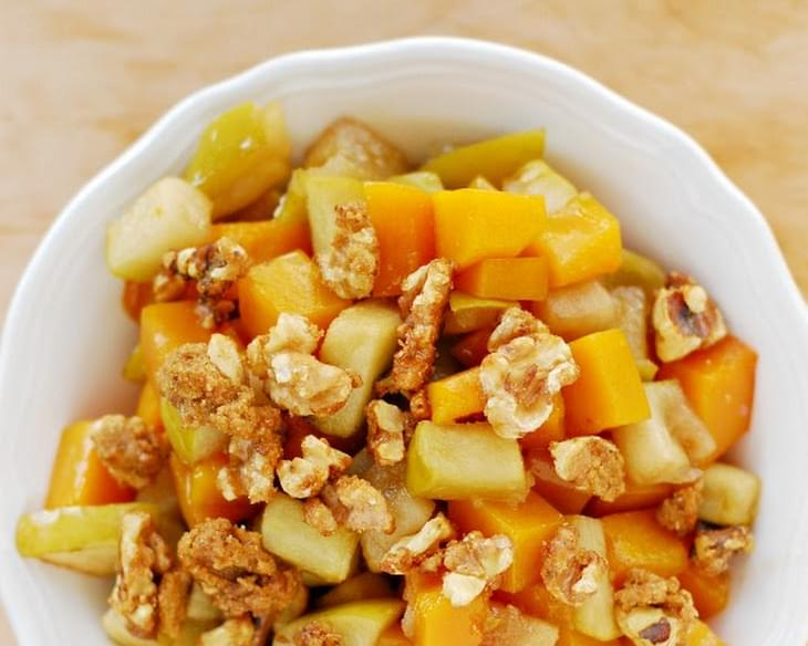 Roasted Butternut Squash with Green Apples and Candied Walnuts