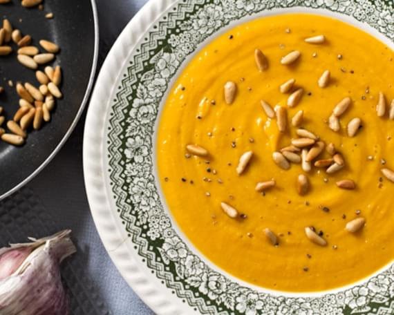 Sweet Potato, Caramelised Garlic & Pine Nut Soup