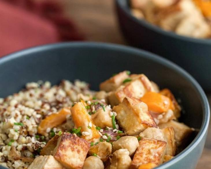 Tofu Chickpea Stir Fry with Tahini Sauce