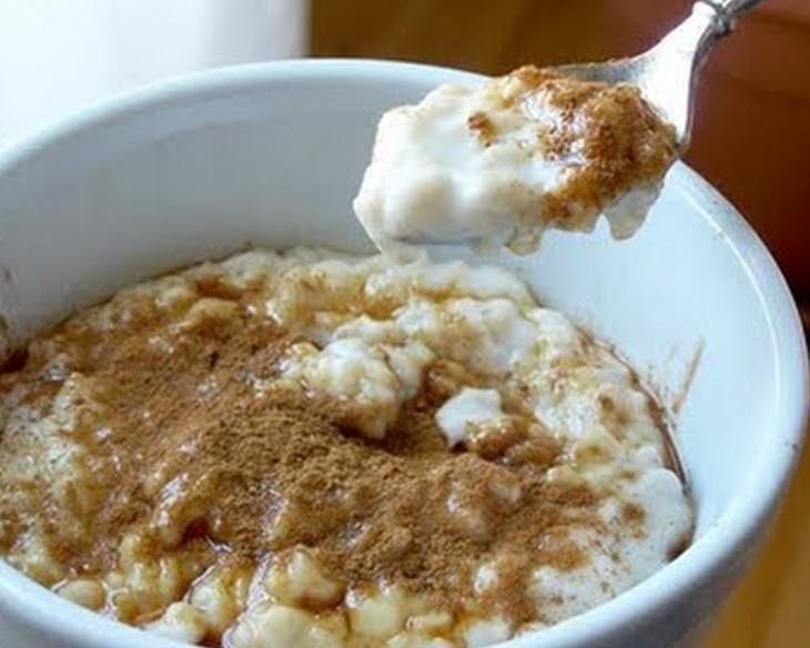 Hot Gluten-free Oatmeal with Nut Milk, Raw Honey and Cinnamon