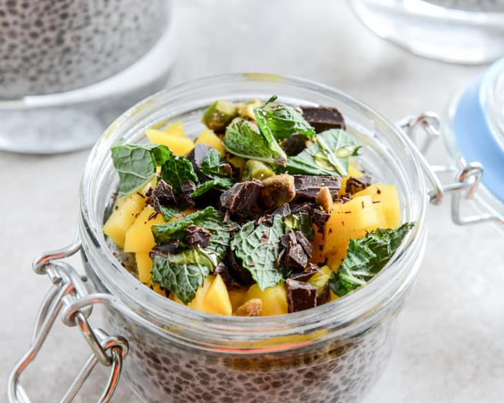 Vanilla Bean Chia Pudding with Fresh Mint, Mango, Pistachios + Dark Chocolate