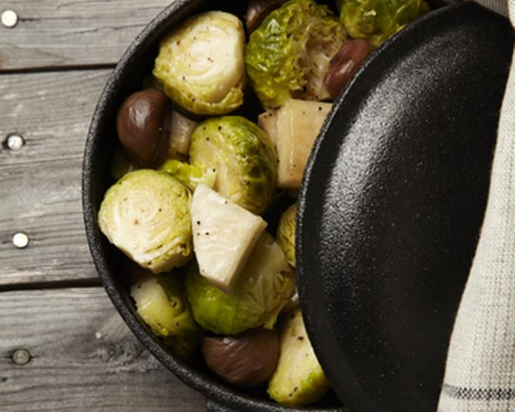 Caramelized Turnips with Crispy Brussels