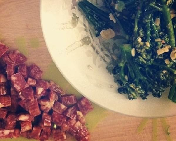 Chinese Sausage and Broccolini Fried Rice