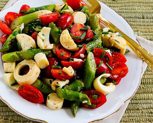 Vegan Asparagus Salad for Spring with Tomatoes, Hearts of Palm, and Chives