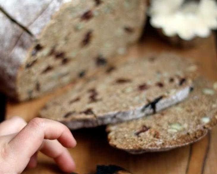 Rye Toasting Bread with Cherries & Pumpkin Seeds