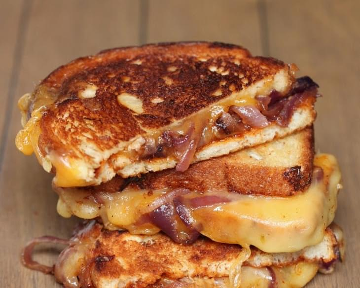 Sweet & Spicy Caramelized Onion BBQ Grilled Cheese