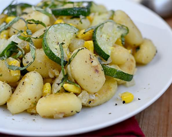 Crispy Gnocchi with Zucchini, Sweet Corn and Basil
