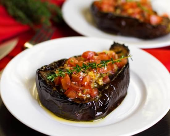 Baked Eggplant With Tomato Thyme Salsa