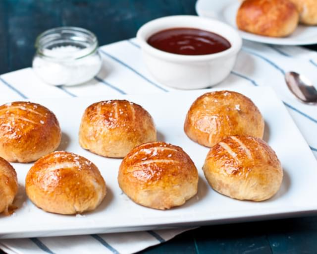 Brie & Honey Barbecue Pulled Pork-Stuffed Pretzel Rolls