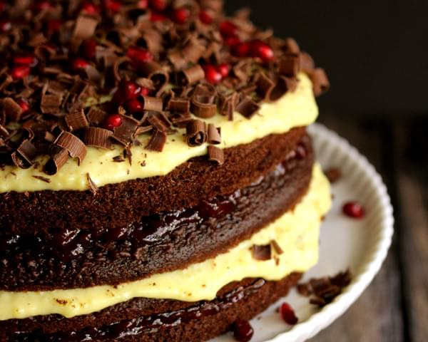 Chocolate Cherry Pomegranate Eggnog Cake