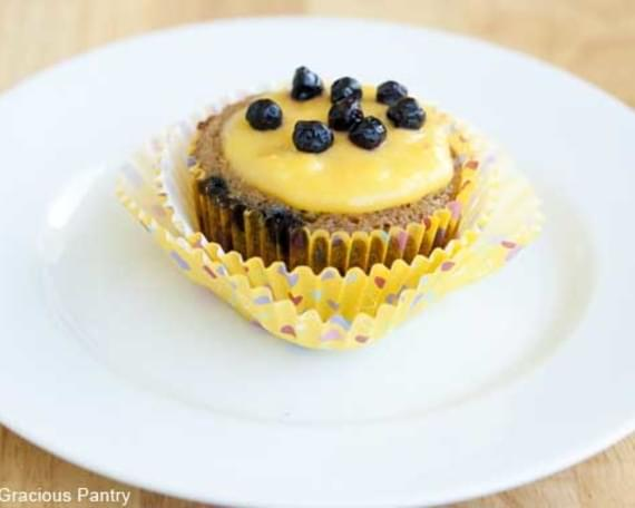Clean Eating Blueberry Muffins with Lemon Curd Frosting