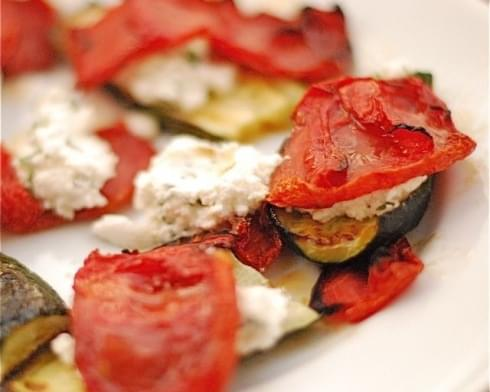 Slow-Roasted Tomatoes with Zucchini & Herbed Ricotta