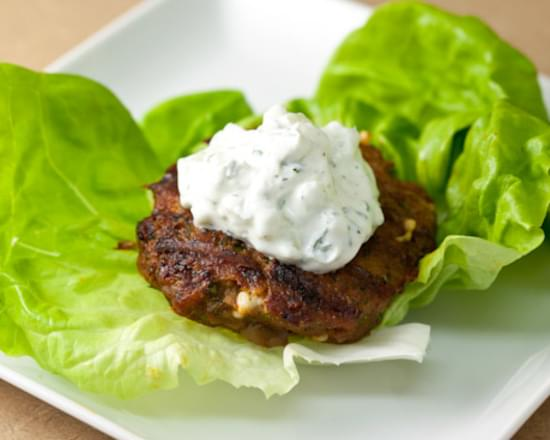 Spiced Turkey Burgers with Green Olives and Feta