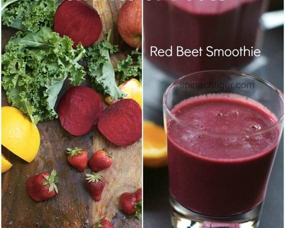 Red Beet Vitamix Smoothie with Kale, Apple, Orange, Berries in the Vitamix