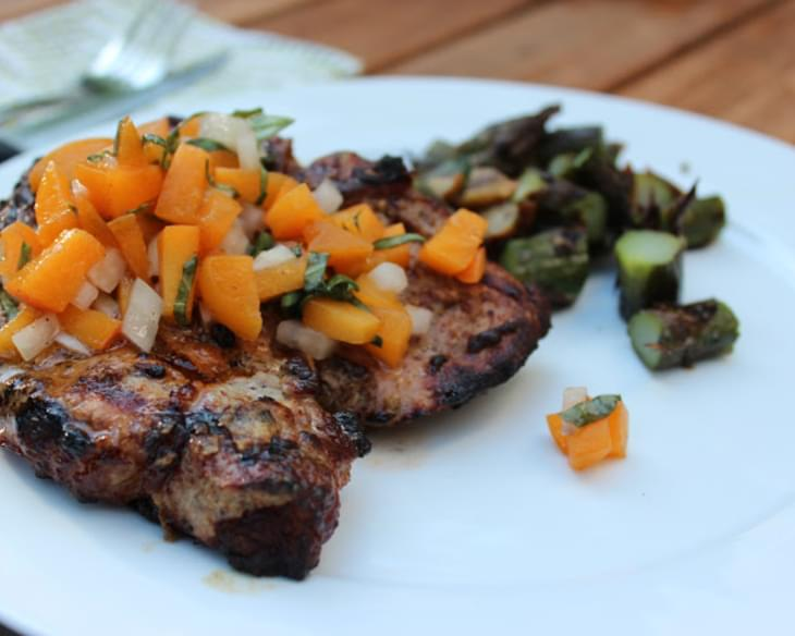 Mustard Grilled Pork Chops w/ Basil-Apricot Relish