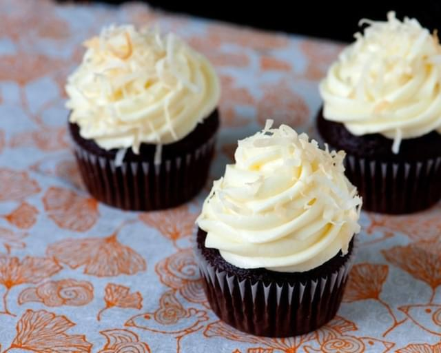 Chocolate Coffee Cupcakes with Coconut Frosting