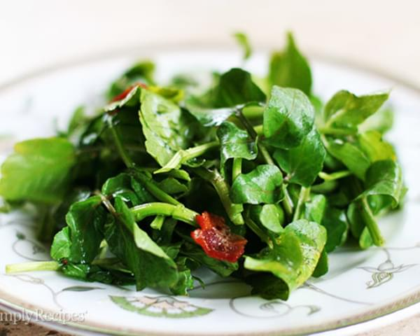 Wilted Watercress Salad with Bacon Dressing