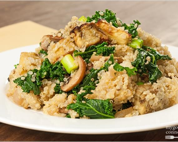 Quinoa with Roasted Eggplant, Kale and Mushrooms