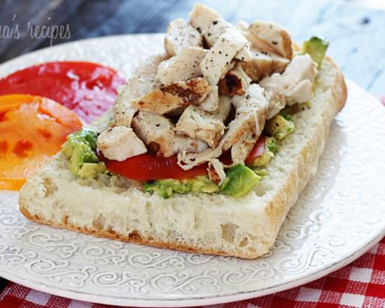 Grilled Chicken Sandwich with Avocado and Tomato