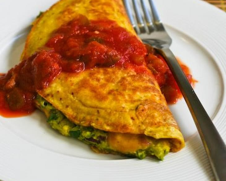 Southwestern Omelet with Easy Guacamole and Salsa