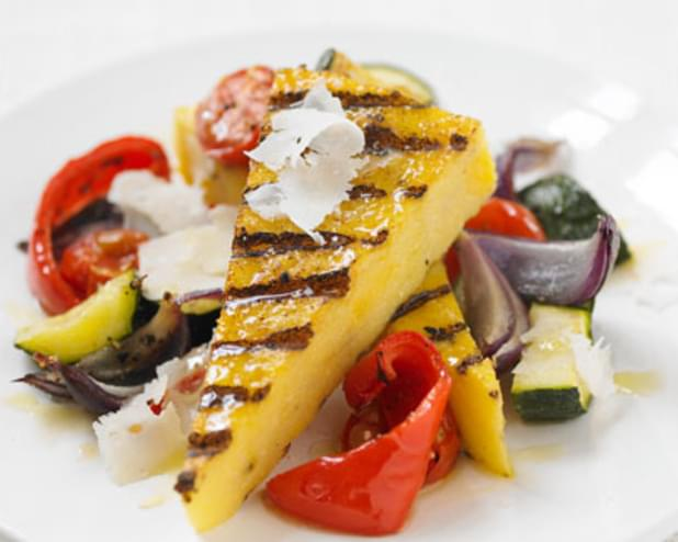 Barbecued Polenta Wedges With Roasted Veg