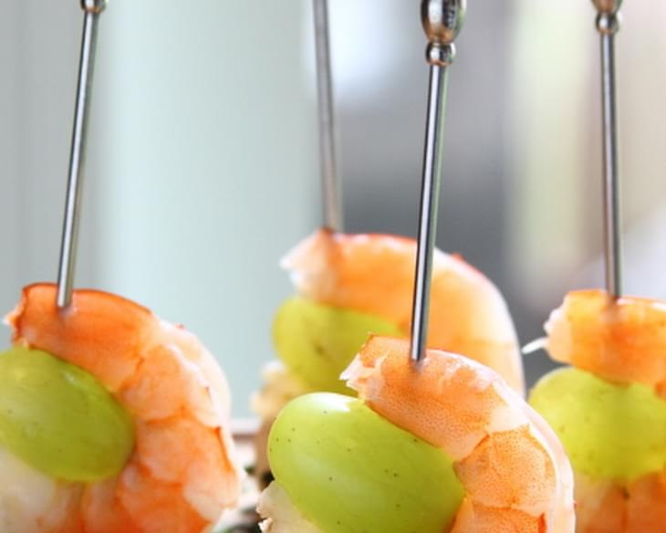 Drunken Grapes with Wine Poached Shrimp-