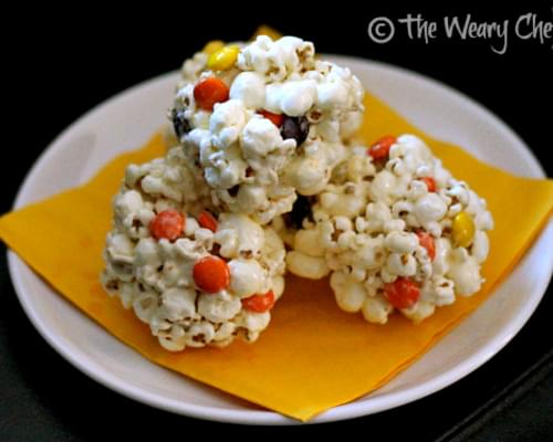 Fall Popcorn Balls with Reese's Pieces
