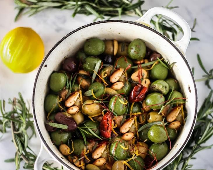Warm Rosemary Olives with Chili Threads