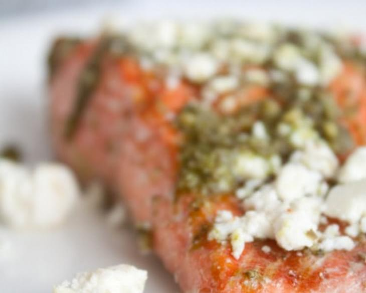 The Simplest Poached Salmon with Pesto and Feta