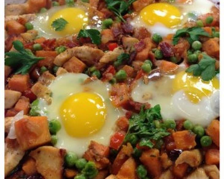 Chicken and Sweet Potato Hash with Poached Eggs