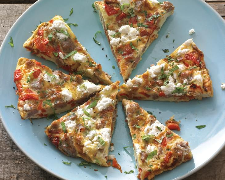 Roasted Red Pepper Frittata with Sausage and Feta