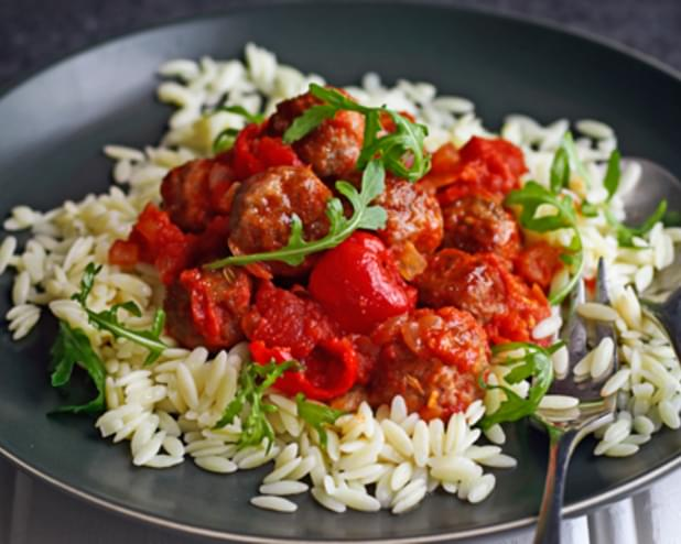 Meatballs In Hot Pepper Sauce With Orzo And Rocket