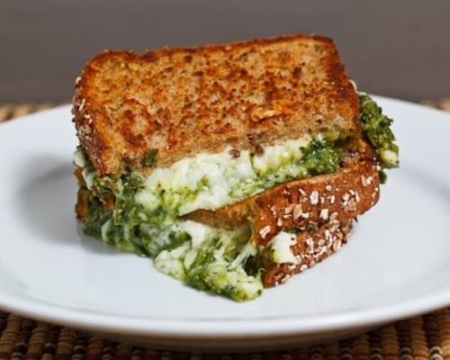 Spinach Pesto Grilled Cheese Sandwich