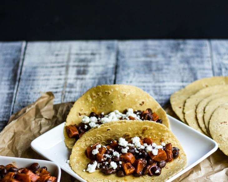 Roasted Sweet Potato and Black Bean Tacos with Goat Cheese