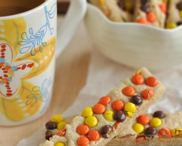 Peanut Butter Reese's Pieces Shortbread Bars