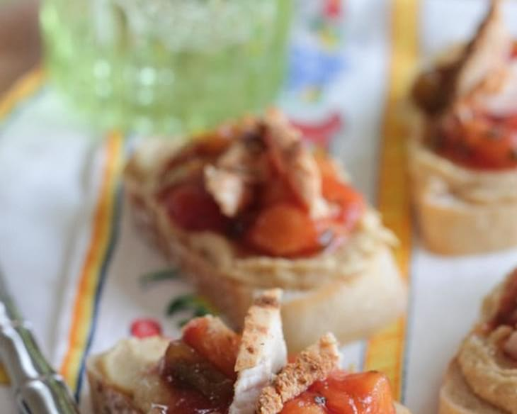 Salsa and Hummus Roasted Chicken Bruschetta