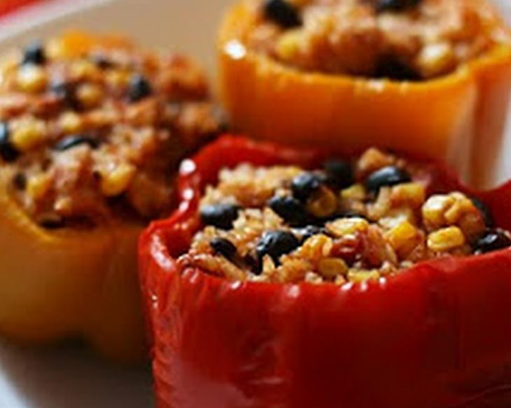 Slow Cooker Vegetarian Stuffed Bell Peppers