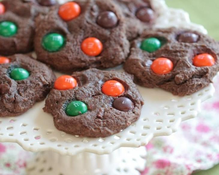 Chocolate Pumpkin Spice M and M Cookies