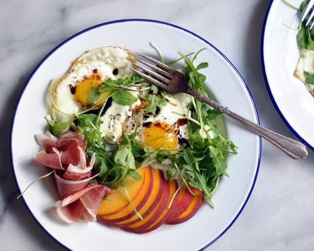 Balsamic Eggs with Peaches and Prosciutto