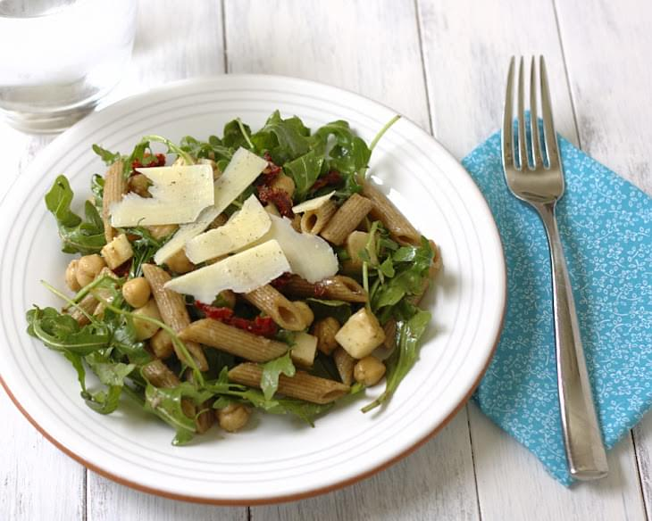 Arugula Salad with Penne, Chickpeas, and Sun Dried Tomatoes