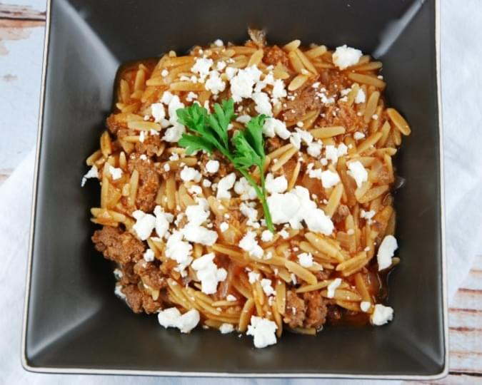 Beef Orzo Recipe with Feta